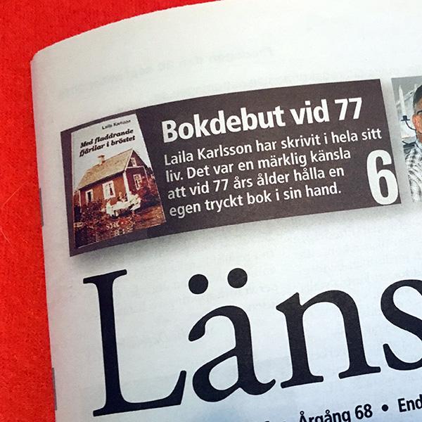 Länstidningen skriver om Laila Karlssons bokdebut